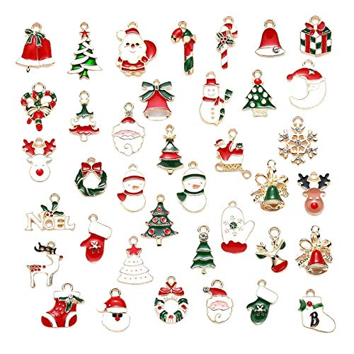 Harilla 38pcs DIY Charms Pendants Bracelet Earrings Festival Decor Xmas Tree Hanging