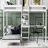 Twin Bunk Bed with Desk, Convertible Dorm Loft Bed with Desk for Kids Teens, No Box Spring Needed (White)