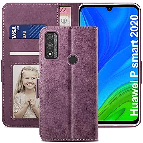YATWIN Funda Huawei P Smart 2020, Cuero Premium Flip Folio Carcasa para Huawei P Smart 2020, Bloqueo RFID, Soporte Plegable, Ranura para Tarjeta, Cierre Magnético, Funda para P Smart 2020, Vino Rojo