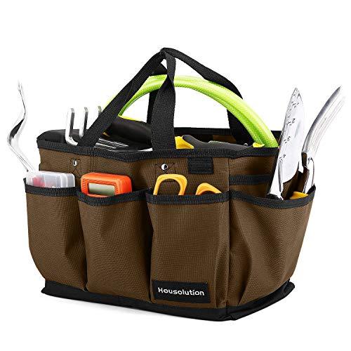 Housolution Garten Werkzeugtasche, Deluxe Garten Werkzeug Aufbewahrungstasche und Gartengerätetasche mit Kleinen Taschen, Verschleißfest und Wiederverwendbar, 12 Zoll, Kaffee