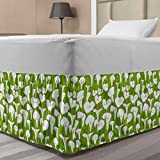 Lunarable Floral Elastic Bed Skirt, Pattern of Flower Silhouettes on a Meadow Background, Wrap Around Fabric Bedskirt Dust Ruffle for Bedroom, Twin/Twin XL, Lime Green White
