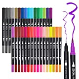ZSCM 32 Colors Dual Tip Brush Pens Art Markers Set, Artist Fine and Brush Tip Colored Pens, for Kids Adult Coloring Books Christmas Cards Drawing, Note taking Lettering Calligraphy Bullet Journaling