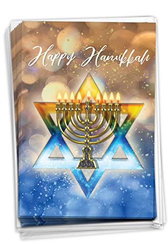 The Best Card Company Festival of Lights - 12 Boxed Hanukkah Greeting Cards with Envelopes (4.63 x 6.75 Inch) - Glowing Blue and Gold Star C3687AHKB-B12x1