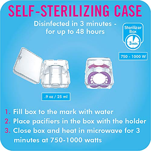MAM Clear Pacifier (2 Pack, 1 Sterilizing Pacifier Case), Pacifiers 6 Plus Months, Best Pacifiers for Breastfed Babies, Sterilizing Storage Case, Baby Boy, Baby Pacifiers