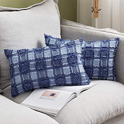 MIULEE Set of 2 Decorative Throw Pillow Covers Boho Farmhouse Check Buffalo Plaid Cotton Cushion Case Accent Home Decor for Couch Sofa Bedroom Blue, 12x20 Inch