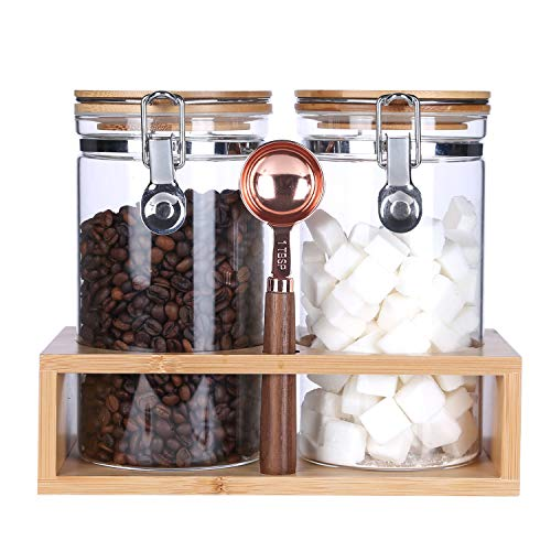KKC Borosilicate Glass Storage Jars with Spoon (Scoop),Glass Coffee Bean Storage Containers,Airtight Sealed Food Jars Canisters with Flip Top Bamboo Lids for Coffee Bean,Ground Coffee,Nuts