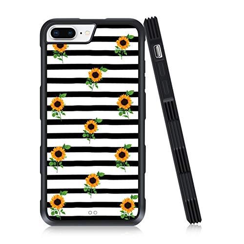 iPhone 7 Plus/8 Plus Case Sunflowers Stripes Pattern Anti-Skid TPU Bumper Case for Women Girls Full Protective Back Cover Case for iPhone 7 Plus/8 Plus 5.5 Inch