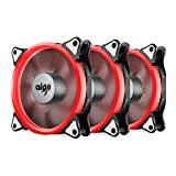 Aigo Halo Ring LED Case Fan 140mm 14cm Quiet Edition Sleeve Bearing High Airflow Silent Cooling Fan for Computer Cases, CPU Coolers, and Radiators (140mm, Triple Pack Red)