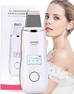 [Upgrade] Soonis Skin Scrubber Facial Cleaner with LED Display Facial Scraper Peeling Pore Cleaner Skin Exfoliating Blackhead Removal Acne Extractor