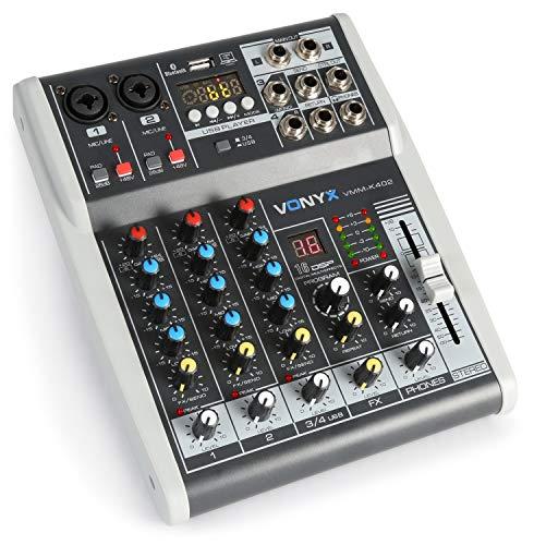 Vonyx VMM-K402 - Music Mixer 4 Canali, Bluetooth, USB-Audio-Interface, LED VU Meter e Peak LED, Uscita Cuffie, 2 x ingressi Mono Microfono/Line (Combo XLR/Jack da 6,3 mm)