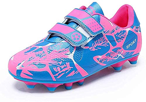 Fussballschuhe Kinder 28 Klettverschluss Mädchen Fußballschuhe FG/AG Low Top Fussball Schuhe Outdoor Football Shoes Trainingsschuhe für Unisex-Kinder Pink