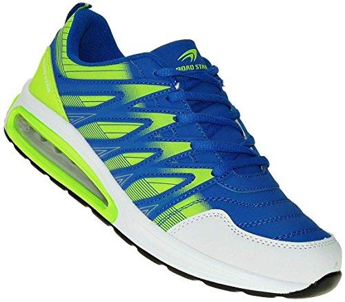 Bootsland Neon Turnschuhe Sneaker Sportschuhe Luftpolster Unisex 002, Schuhgröße:42, Farbe:Blau/Grün