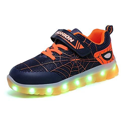 WXBYDX Scarpe Luminose,Scarpe Sportive LED con Luci Scarpe 7 Colori Colorati USB Carica Bambini Lampeggiante Luminoso Ginnastica Sneakers per Natale Regalo di Compleanno ,Taglia (26-37) black-34