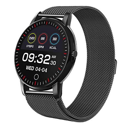 Inteligente Reloj, 1.08 Pulgadas Pantalla Color, Hombre Mujer Pulsera Actividad Impermeable IP67 Pulsómetro,Podómetro,Cronómetros para iOS Android,Black2