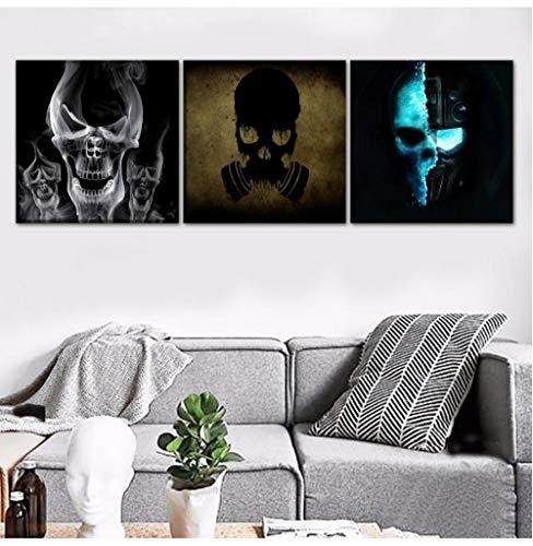Liafa 3 Stücke Hd Leinwand Abstrakte Künstlerische Druck Schädel Und Gasmaske Schädel Bilder Wanddekor Für Home Modern Art