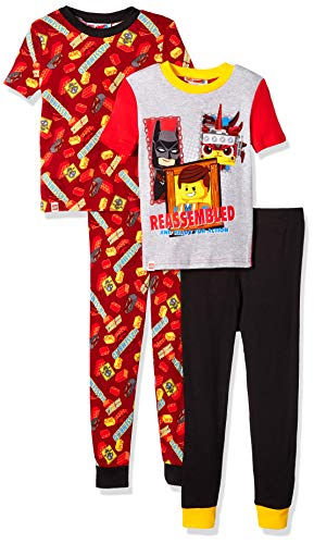 LEGO Boys Little Movie 2,4 Piece Pajama Set,Glow in The Dark, Batman, Redblack, 10
