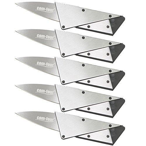 com-four® 5X Kreditkarten Messer in silberfarben, Taschenmesser mit Stahl Verstärkung zusammenklappbar - Ideal für das Portemonnaie (05 Stück - silberfarben mit Verstärkung)