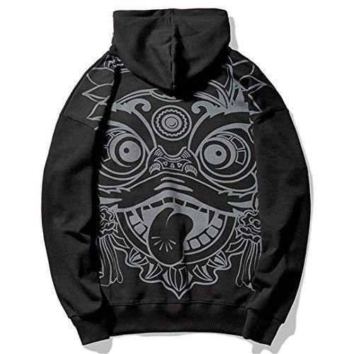 BDSGHAKE Emboridery Printed Chinese Lion Sudaderas con Capucha Streetwear Hoody Hoody Casual Black L