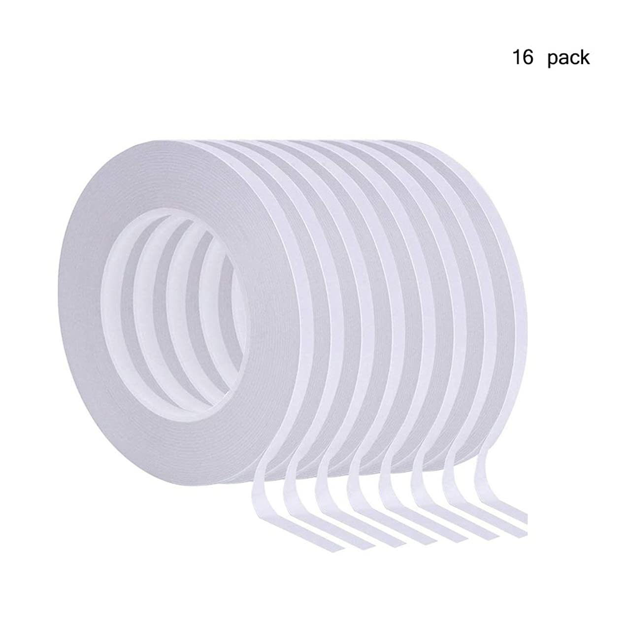 16 Rolls Double-Sided Tape Adhesive Sticky Tapes for Scrapbooking, Photos, Invitation Cards, Paper, DIY Crafts and Office School Stationery Supplies, Each Roll 21Yards Long, 1/4 inch Wide