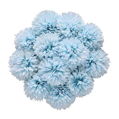 Tifuly Künstliche Hortensie Blumen, 11 Zoll Seide Pompon Chrysantheme Kugel Blumen für Hausgarten Party Büro Dekoration, Braut Hochzeitssträuße, Blumenschmuck, Mittelstücke (Blau-12 Stück)