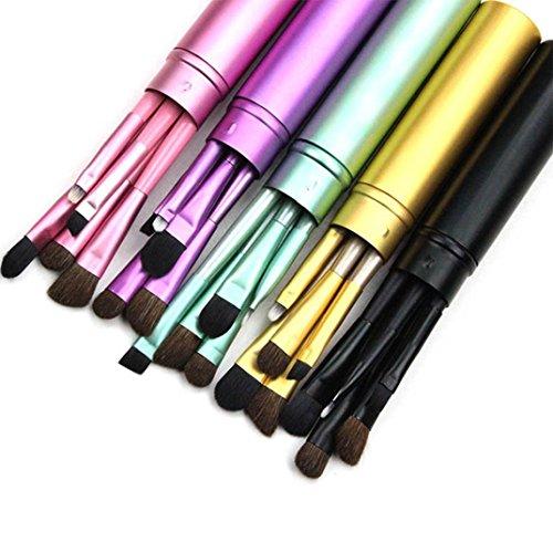 LMMVP 5 Pcs Professionnel Cheveux Maquillage des Yeux Ombre À Paupières Brosses Ensemble Cosmétique + Tube Rond (5Pcs, Mode Violet)