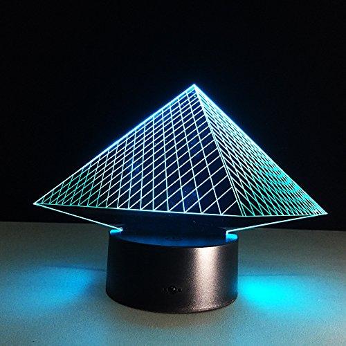 DKIPN Led Nachtlicht 3D Ägyptische Pyramiden Illusion Lampe Stimmungslicht 16 Farbwechsel Berührungsschalter Mit Usb Kabel Schreibtisch Tischlampe Kinder Geburtstag Weihnachtsgeschenke Dekoration