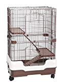 Homey Pet 3 Tiers Chinchilla Hamster Rat Ferret Cage with Sleeping Platform, Pull Out Tray, Urine Guard and Lockable Casters, Brown, L26 x W17 x H38