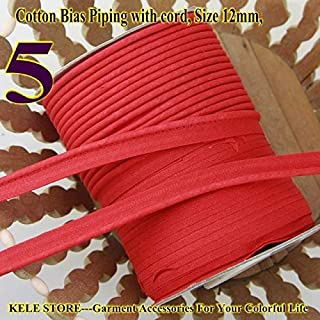 DalaB -100% Cotton Bias Piping, Bias Piping Tape with Cord, Size:12mm,DIY Making,Sewing Home Textile Bedding Piping Tape - (Color: 5 red)