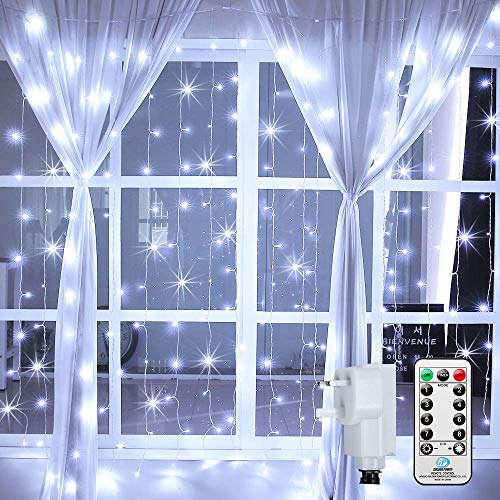 Ollny Curtain Lights Mains Powered, 3m x 3m 300 LED, Outdoor Gazebo Lights Cool White,Christmas Fairy Lights 8 Modes with Remote for Gazebo Window Pergola Wedding Bedroom Party Decorations