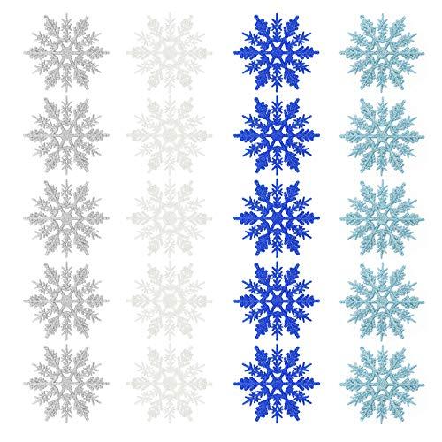Ulikey Fiocchi di Neve Decorativi Natale, Natale Fiocchi di Neve Glitter, Neve Glitter di Plastica Ornamenti, Decoratici Fiocchi di Neve di Albero di Natale Party Decorazione per Festa