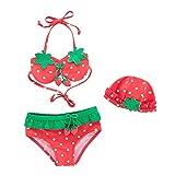 Chic-Chic Ensemble 3Pc Maillot de Bain Bébé Fille Bikini 2 Pièce+Bonnet de Bain Dessin Fraise Elastique Bikini de Nataion Plage Mignon Vacances Printemps Eté Fraise 2ans