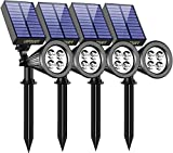 URPOWER Solar Lights Outdoor, 2-in-1 Waterproof Adjustable Solar Spotlights Outdoor Wall Light, Dusk-to-Dawn Solar Powered Landscape Lights for Backyard/Garden/Pathway/Pool/Porch (4Pack, Cool White)
