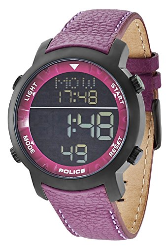 Police Reloj Digital de Hombre Cyber con esfera negra pantalla digital y correa de piel morada PL.12898JSB/02C
