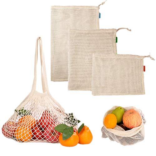 JZK 4 x Gemüsebeutel Baumwolle Obstnetz Gemüsenetz Obstbeutel umweltfreundliches Taschen set für Obst Nüsse Brot Spielzeuge Snack
