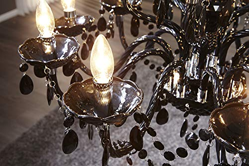 15-flammiger Design Kronleuchter BLACK CRYSTAL schwarz 15-armig Lüster Lampen Hängeleuchte Deckenlampe - 5
