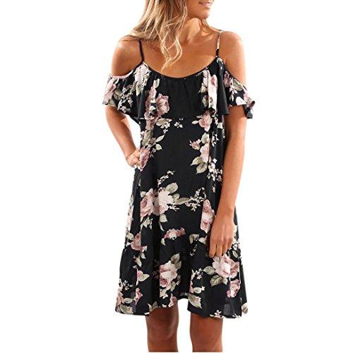 Elecenty Damen Schulterfrei Strandkleid Knielang Kurzarm Blusekleid Sommerkleid Rock Mädchen Kleider Frauen Mode Kleid Minikleid Blumen Drucken Kleidung Partykleid (M, Schwarz)