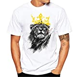 ZYooh Fashion Boys Mens Round Neck T-Shirt,Fun Lion Printing Casual Short Sleeve Tee Cotton Solid Color Short Tops (L, White)