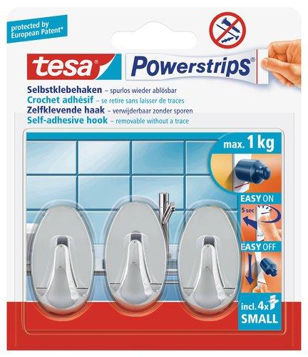 tesa Powerstrips Haken Small OVAL - Selbstklebender Wandhaken für Glas, Kacheln, Holz, Kunststoff und andere Untergründe - Chrom