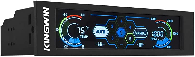 "Kingwin FPX-007 Performance 5.25"" Touchscreen LCD Fan Controller Cooling with Liquid Crystal Display Module. Features Temperature Monitor, RPM Display, and Fan Fail Alarm"