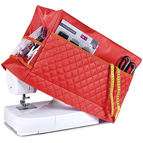 Best Deals! Addicted DEPO Sewing Machine Cover with 3 Convenient Pockets - Protective Quilted Dust C...