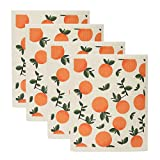 Uspace Orange Swedish Dishcloth Sponge Reusable Kitchen Dish Towels Absorben and Fast Dry Cleaning Cloths Set of 4 No Odor Wipes