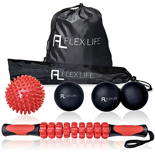 Flex Life Massage Ball Set & Muscle Roller Stick - Lacrosse Balls Massage Ball Therapy Includes Lacrosse Ball, Double Peanut Massage Ball, Spiky Ball, and Roller Stick