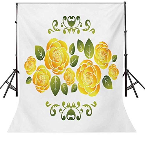 Yellow 6.5x10 FT Backdrop Photographers,Floral Arrangement with Roses and Leaves with Swirled Frame Design Background for Baby Birthday Party Wedding Vinyl Studio Props Photography