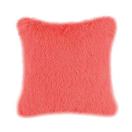 CaliTime Super Soft Throw Pillow Cover Case for Couch Sofa Bed Solid Plush Faux Fur 18 X 18 Inches Living Coral