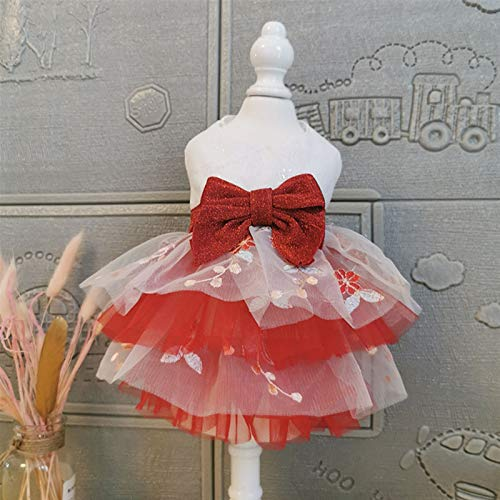 YUTRD ZCJUX Handmade Dog Clothes Princess Tutu Short Evening Dress Shine Big Bow More Layers Bubble Skirt Pet Ball Gown Poodle (Size : X-Large)