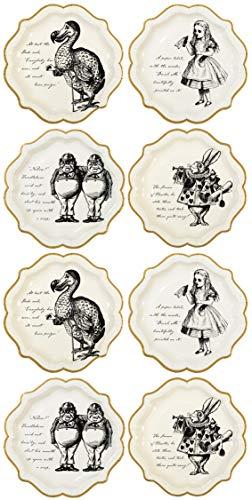Talking Tables platos medio con borde de oro y detalles de Alice en el país de las maravillas.'Truly Alice.' Carton.