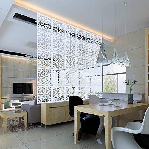 Yizunnu - Juego de 12 Paneles separadores de ambientes (Madera/plástico, para Colgar en la Pantalla, Plegable, 29 x 29 cm), diseño de Flores Vintage