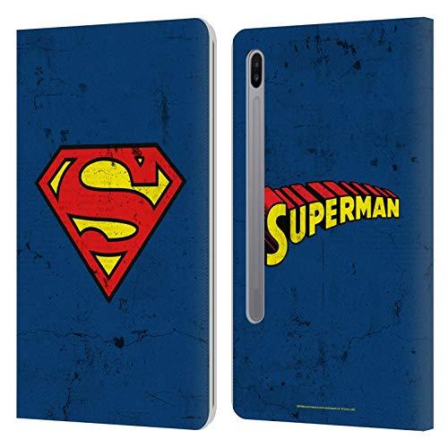 Head Case Designs Licenciado Oficialmente Superman DC Comics Gastado Logotipos Carcasa de Cuero Tipo Libro Compatible con Samsung Galaxy Tab S6 (2019)