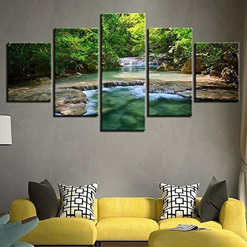 TOPRUN Immagini da Parete 5 Pezzi Quadro su Tela Foresta pluviale Tropicale Fiume ruscello Natura Verde Quadri Moderni Camera da Letto Adesivo Murale da Parete Quadri Grandi Dimensioni con Cornice