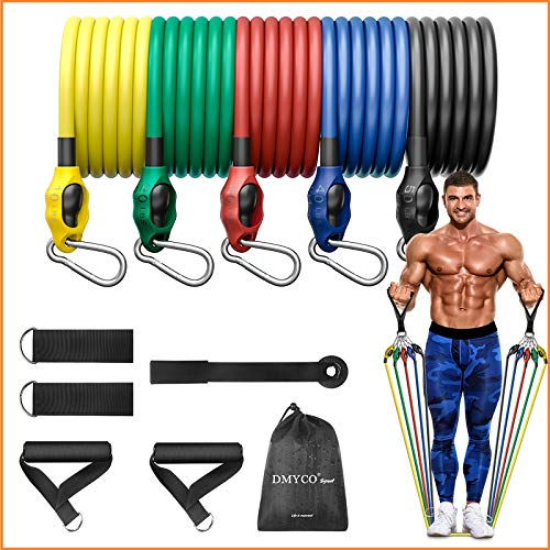 DMYCO Exercise Resistance Bands Set for Men & Women, Portable Fitness Workout Bands Stackable Up to 150 Lbs with Door Anchor, Handles, Ankle Straps for Muscle Builder, Fitness Training Exercise Bands